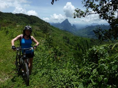 Ann Robertson Cycling on the Thailand & Laos tour with redspokes